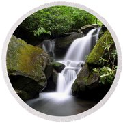 Lower Grotto Falls Round Beach Towel
