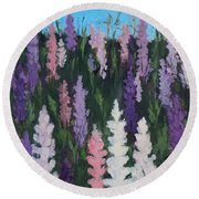 Lupines - Art By Bill Tomsa Round Beach Towel