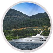 Luxury Yacht At The Coast Of French Riviera Round Beach Towel