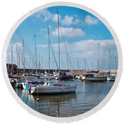 Lyme Regis Harbour 2 Round Beach Towel