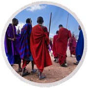 Maasai Men In Their Ritual Dance In Their Village In Tanzania Round Beach Towel