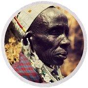 Maasai Old Woman Portrait In Tanzania Round Beach Towel