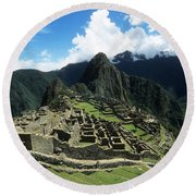 Machu Picchu Panorama Round Beach Towel