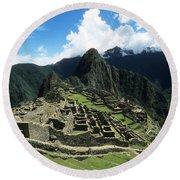 Machu Picchu Panorama Round Beach Towel