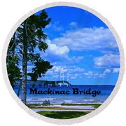 Mackinac Bridge Round Beach Towel