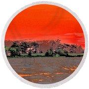 Louisiana Sunset Of The Madisonville Lighthouse  Round Beach Towel
