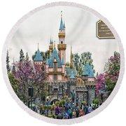 Main Street Sleeping Beauty Castle Disneyland 01 Round Beach Towel