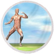 Male Musculature In Fighting Stance Round Beach Towel