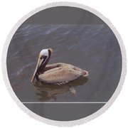 Male Pelican Round Beach Towel