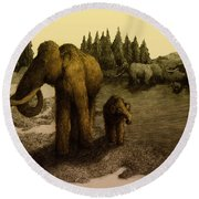 Mammoths Round Beach Towel
