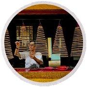 Man Lighting Incense In Chinese Temple Vietnam Round Beach Towel