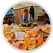 Man Peeling Squash In Antalya Street Market-turkey Round Beach Towel