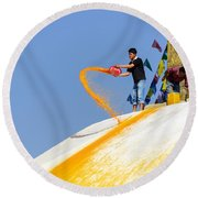 Man Throwing Orange Paint On Boudhanath Stupa Round Beach Towel