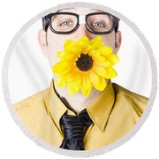Man With Flower In Mouth Round Beach Towel