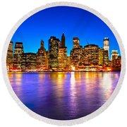 Manhattan - New York City Round Beach Towel