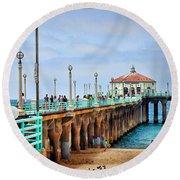 Manhattan Beach Pier Round Beach Towel