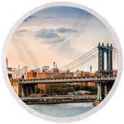 Manhattan Bridge Round Beach Towel
