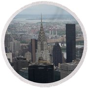 Manhattan From The Empire State Building Round Beach Towel
