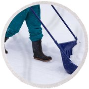 Manual Snow Removal With Snow Scoop After Blizzard Round Beach Towel