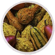 Many Colorful Gourds Round Beach Towel