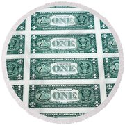 Many One Dollar Bills Side By Side Round Beach Towel