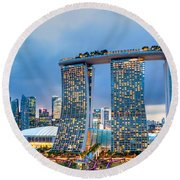 Marina  Bay Sands - Singapore Round Beach Towel