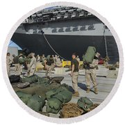 Marines Move Gear During An Embarkation Round Beach Towel