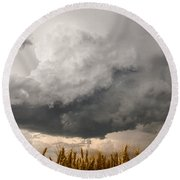 Marshmallow - Bubbling Storm Cloud Over Wheat In Kansas Round Beach Towel