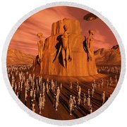 Martians Gathering Around A Monument Round Beach Towel