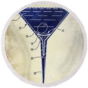 Martini Glass Patent Drawing Two Tone  Round Beach Towel