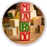 Mary - Alphabet Blocks Round Beach Towel