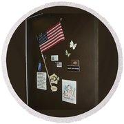 Mary Ann Guss' Patriotic Door Baldwin City Kansas 2002 Round Beach Towel