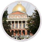 Massachusetts State House - Boston  Round Beach Towel