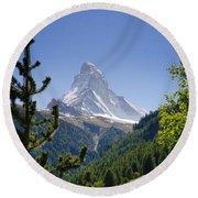 Matterhorn In Zermatt Round Beach Towel