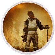 Medieval Knight On A Burning Battlefield Round Beach Towel
