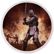 Medieval Knights In Battle Round Beach Towel