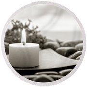 Meditation Candle Round Beach Towel