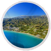 Mediterranean Sea From The Air Round Beach Towel