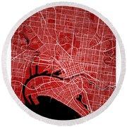 Melbourne Street Map - Melbourne Australia Road Map Art On Color Round Beach Towel