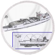 Merchant Marine Conceptual Drawing Round Beach Towel