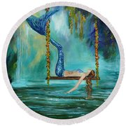 Mermaids Lazy Lagoon Round Beach Towel