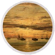 Mesdag's Sunset At Scheveningen -- A Fleet Of Shipping Vessels At Anchor Round Beach Towel