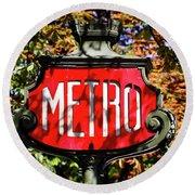 Metro Sign, Paris, France Round Beach Towel
