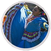 Mexican Folk Dancers Round Beach Towel