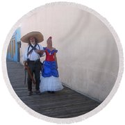 Mexican Revolutionary Re-enactor With His  Lady Helldorado Days Tombstone Arizona 2004 Round Beach Towel