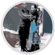 Mexican Soldier With Wife And Child Unknown Location 1915-1920-2014  Round Beach Towel