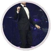 Singer Michael Buble Round Beach Towel