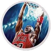 Michael Jordan Artwork Round Beach Towel by Sheraz A