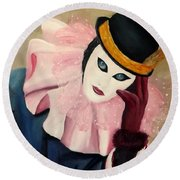 Mime With Thoughts Round Beach Towel