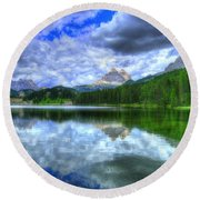 Mirror In The Sky Round Beach Towel